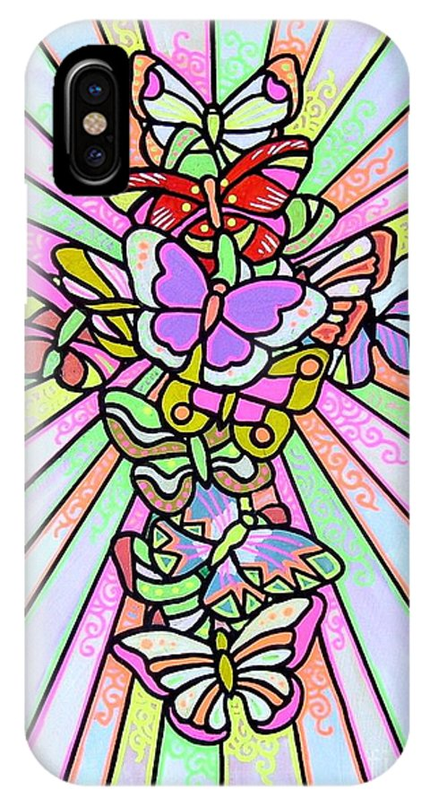 Cross. Easter IPhone Case featuring the painting Butterfly Cross by Jim Harris