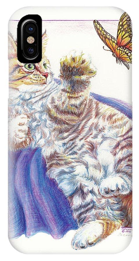 Cat IPhone X Case featuring the drawing Butterfly Kitten by Sherry Shipley