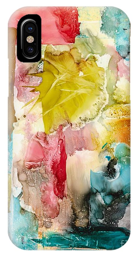 Abstract IPhone X Case featuring the painting Butterfly Morning by Susan Kubes
