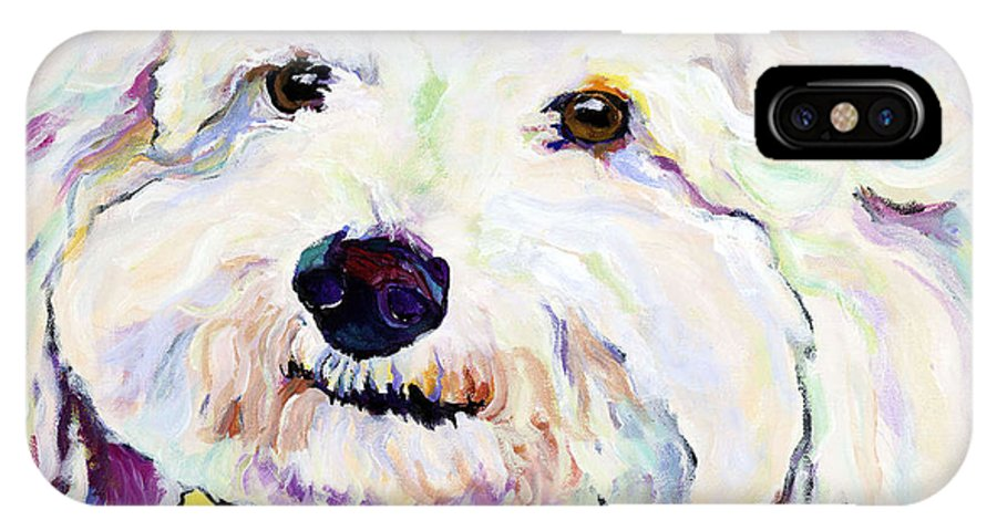 Bischon IPhone X / XS Case featuring the painting Buttons  by Pat Saunders-White