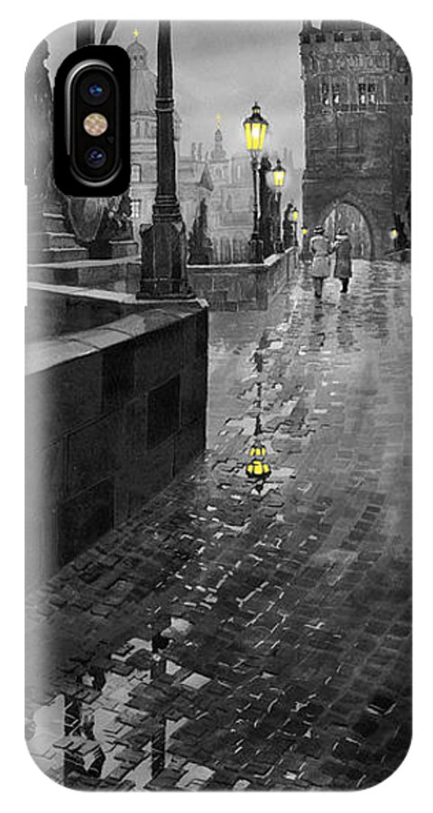 Prague IPhone X Case featuring the painting Bw Prague Charles Bridge 01 by Yuriy Shevchuk