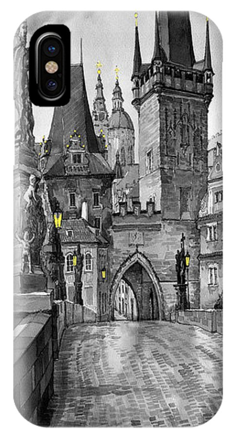 Prague IPhone X Case featuring the painting BW Prague Charles Bridge 02 by Yuriy Shevchuk
