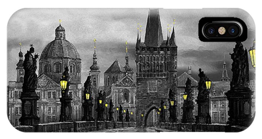 Prague IPhone Case featuring the painting Bw Prague Charles Bridge 04 by Yuriy Shevchuk
