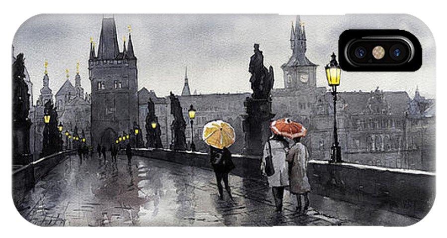 Prague IPhone X Case featuring the painting Bw Prague Charles Bridge 05 by Yuriy Shevchuk