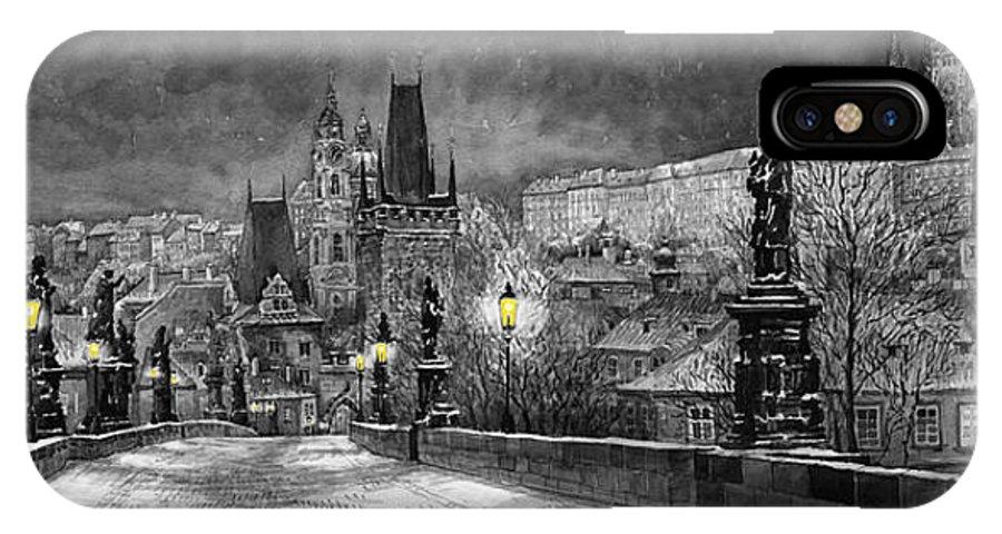 Prague IPhone X Case featuring the painting Bw Prague Charles Bridge 06 by Yuriy Shevchuk