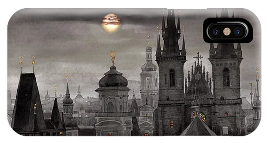 Cityscape IPhone Case featuring the painting Bw Prague City Of Hundres Spiers by Yuriy Shevchuk