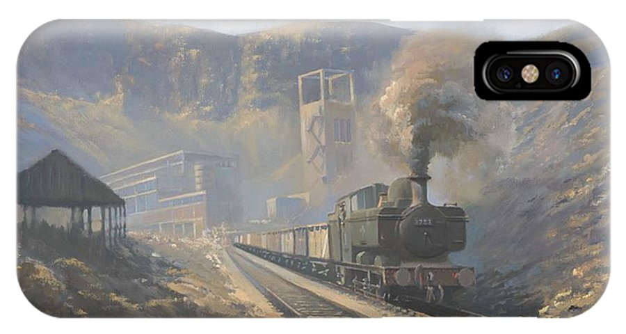 Railway IPhone X Case featuring the painting Bwllfa Dare Colliery by Richard Picton