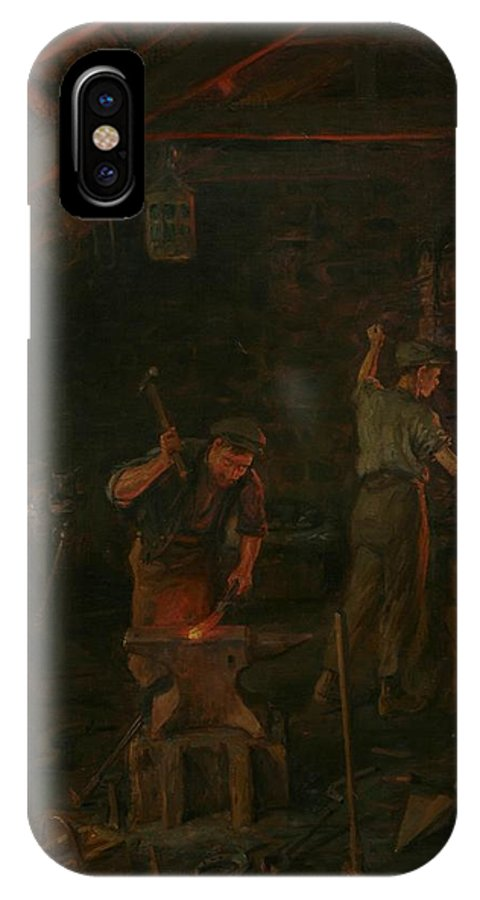 Interior IPhone X Case featuring the painting By Hammer And Hand All Arts Doth Stand by William Banks Fortescue