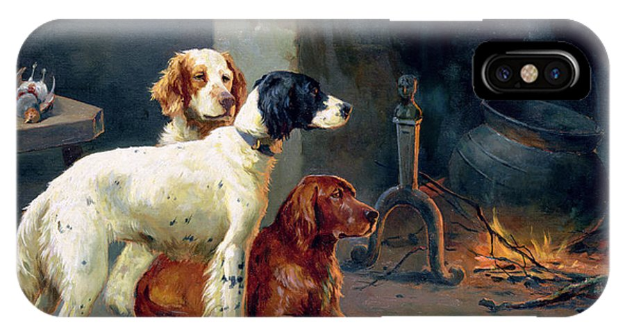 Dogs; Pheasants; Gundogs; Hearth; Cooking Pot; Irons; Irish Red Setter; English Setter; Working Dog IPhone X Case featuring the painting By The Fire by Alfred Duke