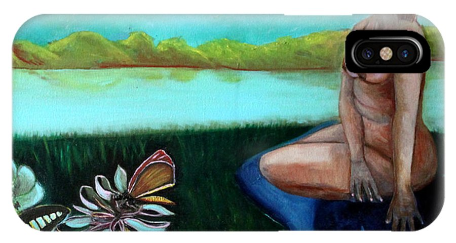 Butterflies IPhone X Case featuring the painting By The Lake by Pilar Martinez-Byrne