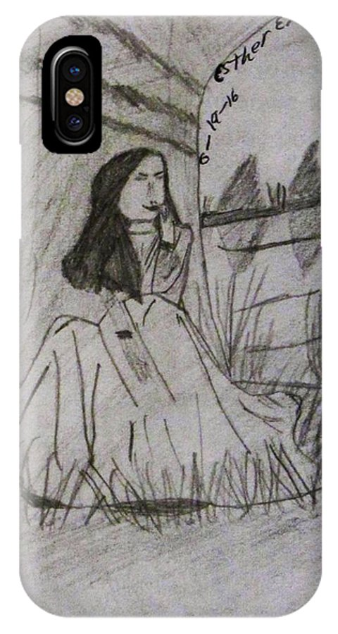 By The River IPhone X Case featuring the drawing By The River by Esther Race
