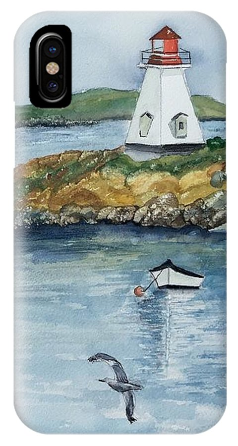 Water Scene IPhone X Case featuring the painting By The Sea by Denise Mc Nellis