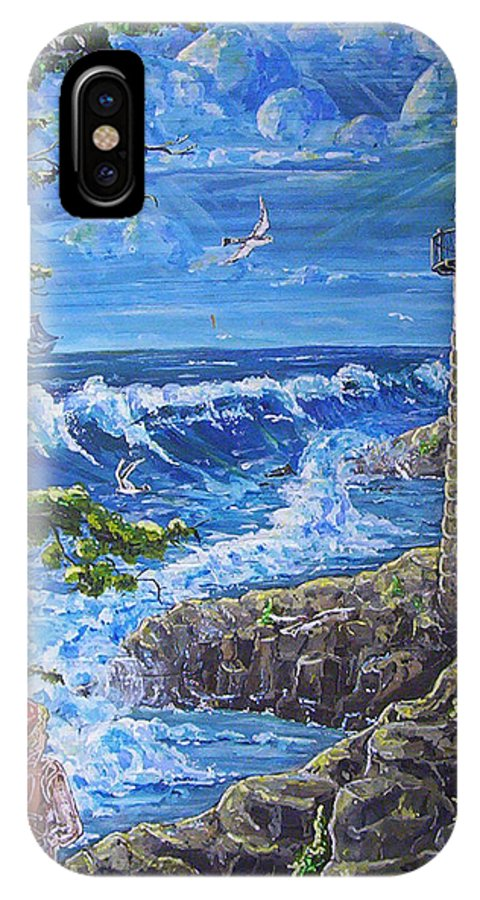 Seascape IPhone Case featuring the painting By The Sea by Phyllis Mae Richardson Fisher