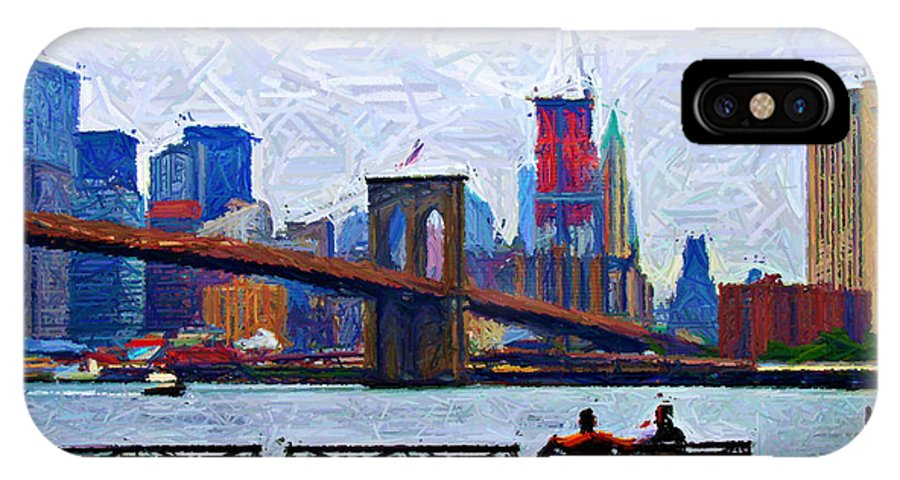 Brooklyn IPhone X Case featuring the digital art By The Water Too Sketch by Randy Aveille