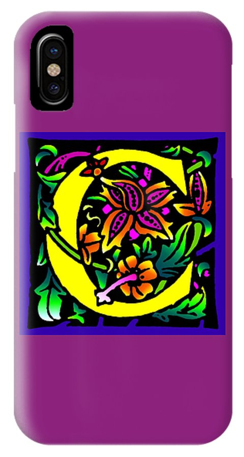Alphabet IPhone Case featuring the digital art C In Yellow by Kathleen Sepulveda