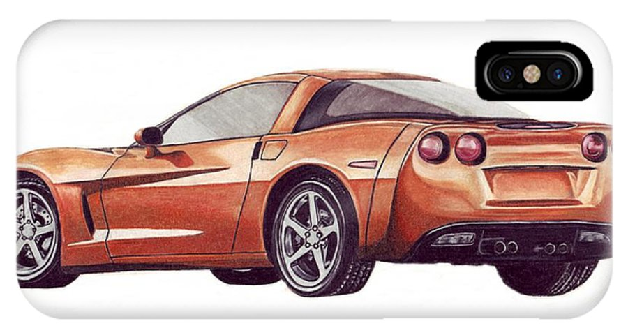 Corvette IPhone X / XS Case featuring the drawing C6 by Kristen Wesch