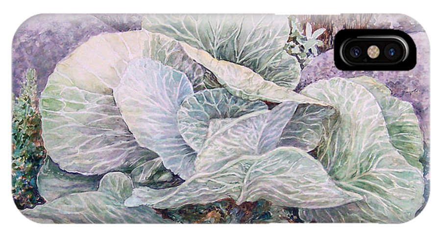 Leaves IPhone X Case featuring the painting Cabbage Head by Valerie Meotti