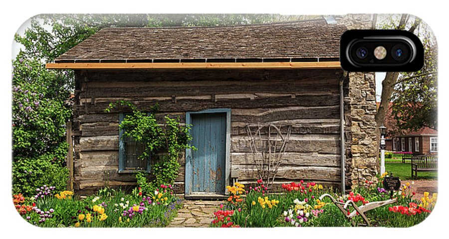 Cabin IPhone X / XS Case featuring the photograph Cabin In The Tulip Patch by Terri Morris