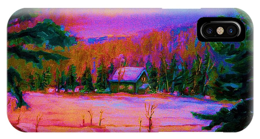 Winterscenes IPhone X Case featuring the painting Cabin In The Woods by Carole Spandau