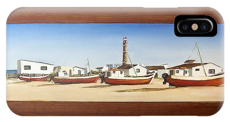 Landscape Seascape Uruguay Beach Boats Sea Lighthouse IPhone X / XS Case featuring the painting Cabo Polonio 2 by Natalia Tejera