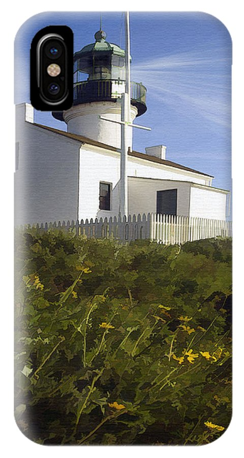 Lighthouse IPhone X Case featuring the digital art Cabrillo Lighthouse by Sharon Foster