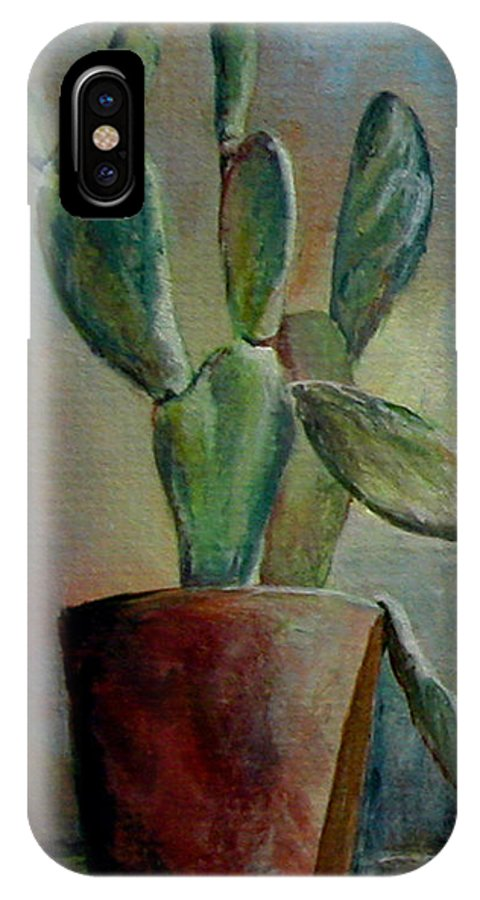 Flower IPhone X Case featuring the painting Cactus 1 by Muriel Dolemieux