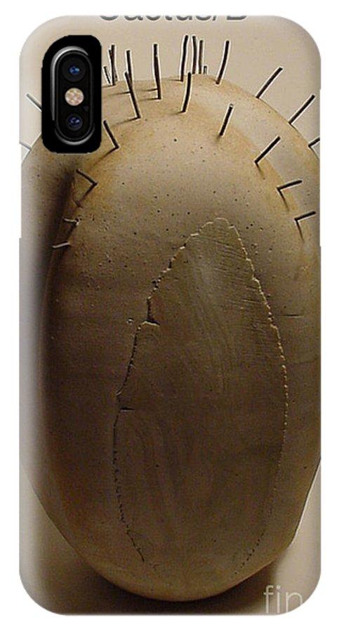 Sculptures IPhone X Case featuring the sculpture Cactus B by Skip Bleecker