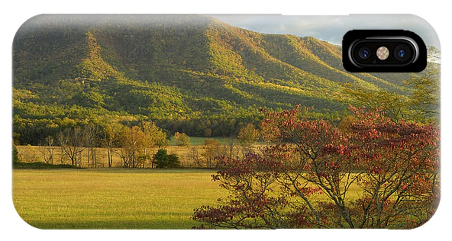 Cades Cove IPhone X Case featuring the photograph Cades Cove Autumn Sunset In Great Smoky Mountains by Darrell Young