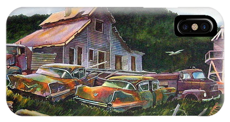 Cadillacs IPhone X Case featuring the painting Cadillac Ranch by Ron Morrison