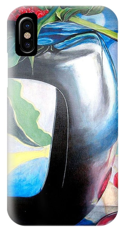 Nature-morte IPhone X Case featuring the painting Cadre by Muriel Dolemieux