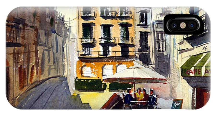 Cafe IPhone X Case featuring the painting Cafe Aromatic by James Nyika