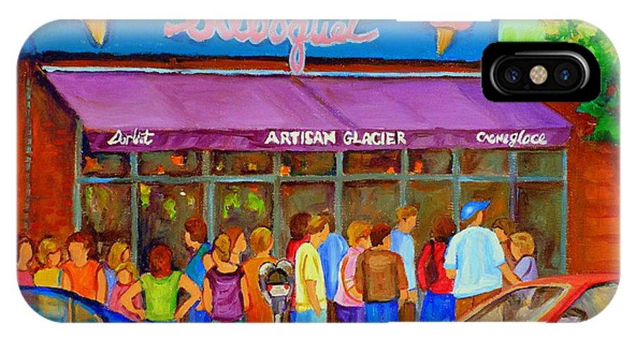 Cafe Bilboquet IPhone X Case featuring the painting Cafe Bilboquet Ice Cream Delight by Carole Spandau