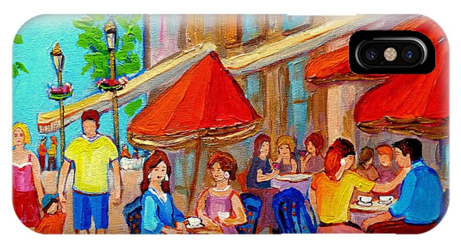 Cafescene IPhone X Case featuring the painting Cafe Casa Grecque Prince Arthur by Carole Spandau