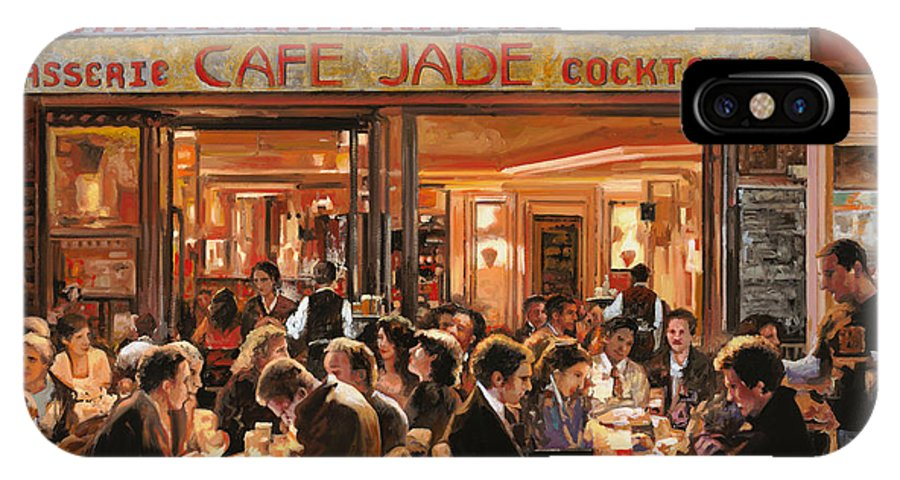 Brasserie IPhone X Case featuring the painting Cafe Jade by Guido Borelli