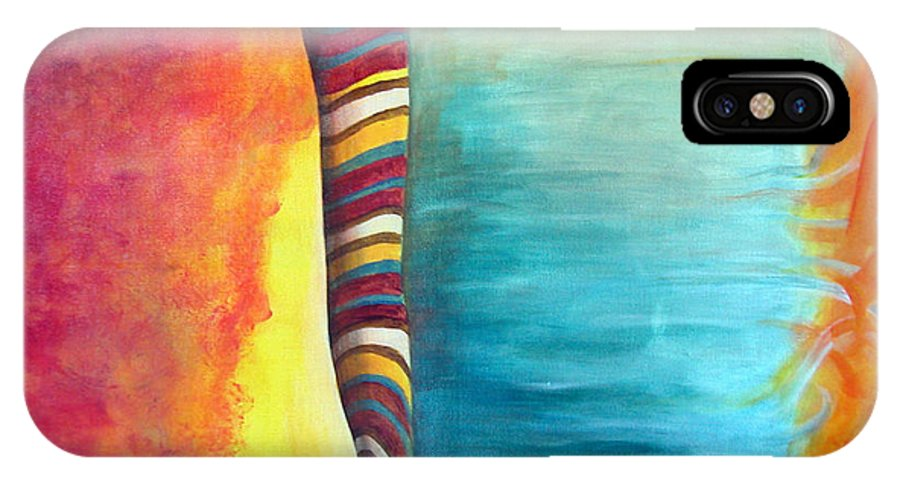 Abstract IPhone X Case featuring the painting Cafe by Muriel Dolemieux