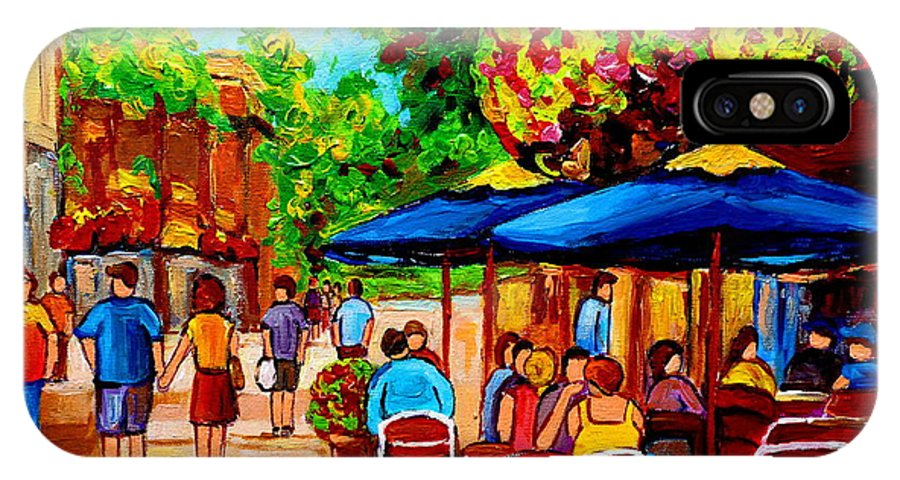 Cafe On Prince Arthur In Montreal IPhone X Case featuring the painting Cafe On Prince Arthur In Montreal by Carole Spandau