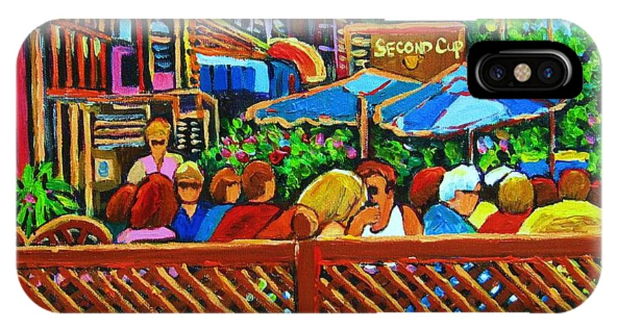 Cafes IPhone X Case featuring the painting Cafe Second Cup by Carole Spandau