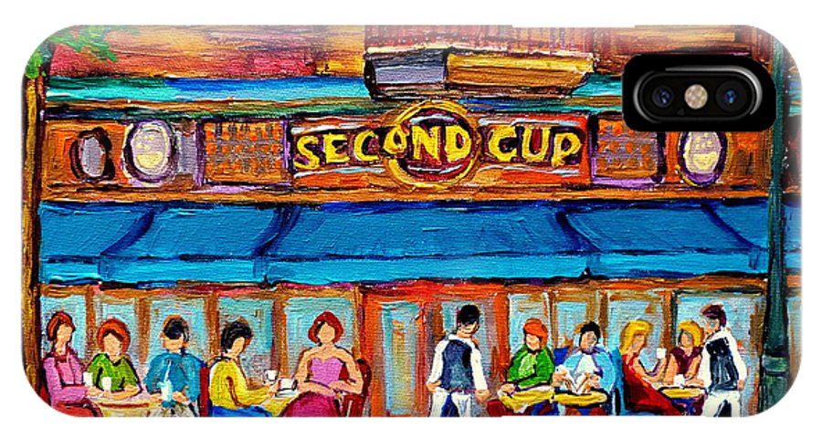Cafe Second Cup Terrace Montreal Street Scenes IPhone X Case featuring the painting Cafe Second Cup Terrace by Carole Spandau