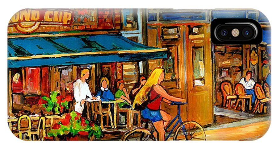 Cafes IPhone X Case featuring the painting Cafes With Blue Awnings by Carole Spandau
