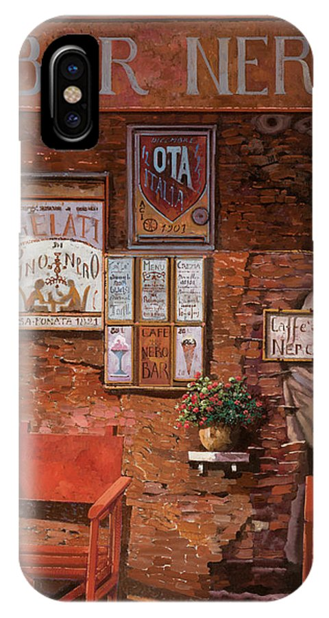 Caffe' IPhone X Case featuring the painting caffe Nero by Guido Borelli