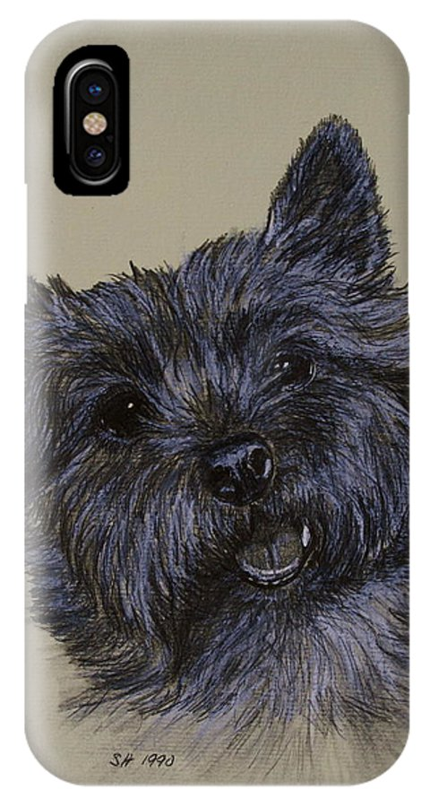 Cairn IPhone X / XS Case featuring the drawing Cairn Terrier by Susan Herber