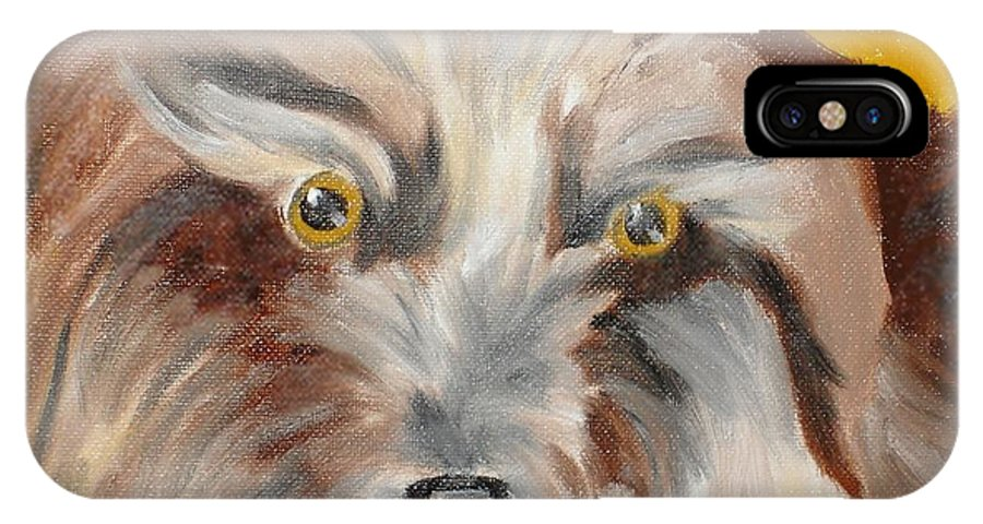 Dog IPhone X / XS Case featuring the painting Cairn Terrier by Susan Kubes