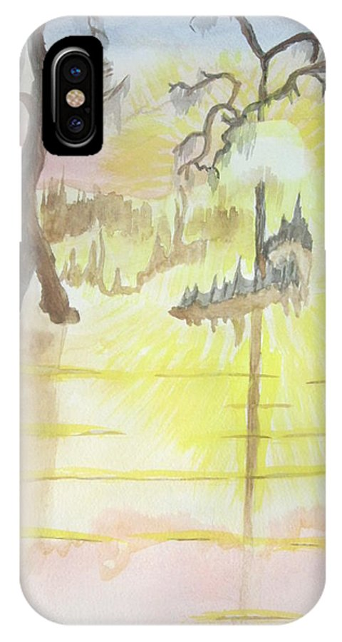 Landscape Watercolor IPhone Case featuring the painting Cajun Sunrise by Warren Thompson