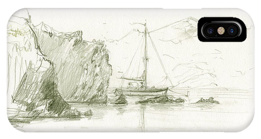 Cadaques IPhone X Case featuring the painting Cala Culip Cap De Creus by Juan Bosco