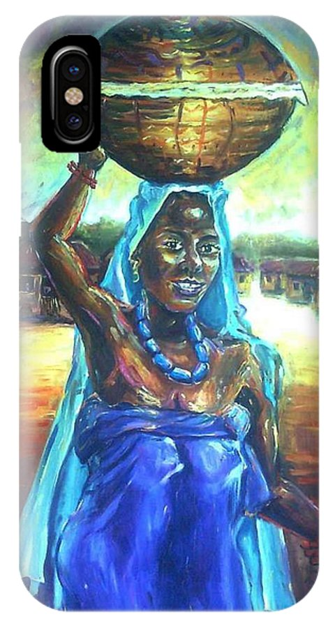 Calabash Lady IPhone X Case featuring the painting Calabash Lady In Blue by Wale Adeoye