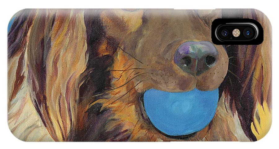 Dog Art IPhone X Case featuring the painting Caleigh by Pat Saunders-White