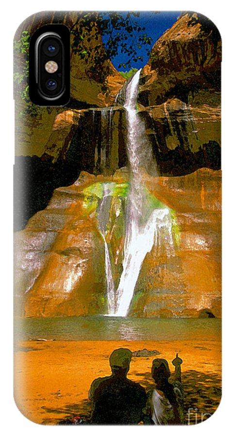 Calf Creek Falls Utah IPhone X Case featuring the painting Calf Creek Falls Utah by David Lee Thompson