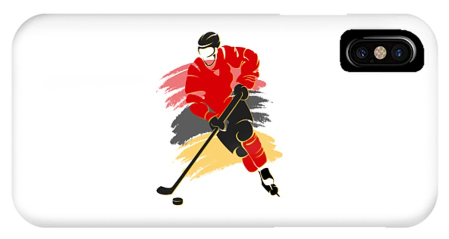 Flames IPhone X / XS Case featuring the photograph Calgary Flames Player Shirt by Joe Hamilton