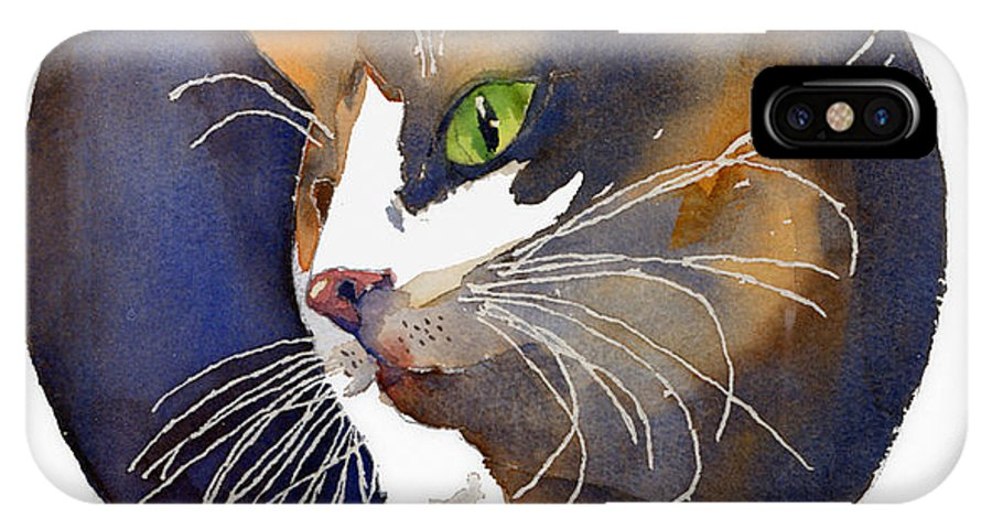 Cat IPhone X Case featuring the painting Calico by Arline Wagner
