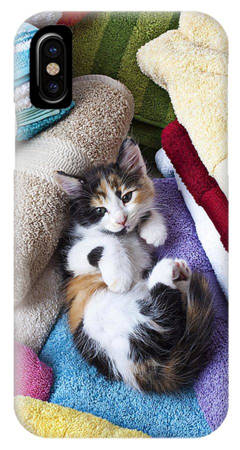 Calico Kitten Soft Towels Cat IPhone X Case featuring the photograph Calico Kitten On Towels by Garry Gay